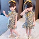 女童洋裝 2021新款夏季女童碎花連衣裙小女孩古裝旗袍寶寶雪紡裙子漢服 快速出貨