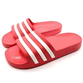 《7+1童鞋》ADIDAS ADILETTE AQUA 一體成型 輕量 防水 運動拖鞋 7372 紅色