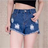春夏裝新款街頭百搭熱褲須邊毛邊女士顯瘦牛仔短褲新品潮     東川崎町
