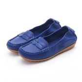 MICHELLE PARK 輕時尚舒適彈力牛皮馬克縫休閒鞋平底鞋-藍