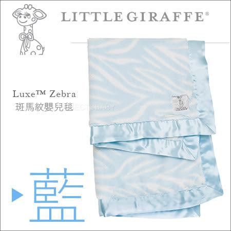 ✿蟲寶寶✿【美國 Little Giraffe】彌月精品~Luxe Baby Blanket 斑馬印花紋嬰兒毯 - 藍色