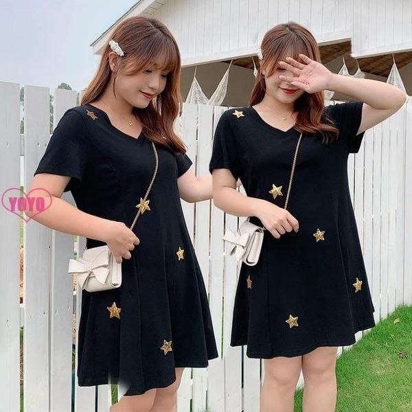 YOYO中大尺碼針織洋裝連身裙女 韓版V領中長裙(XL-4L)【AH1046】