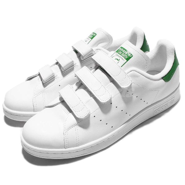 adidas 休閒鞋 Stan Smith CF 白 綠 基本款 魔鬼氈 男鞋 女鞋【PUMP306】 S75187