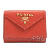 茱麗葉精品【全新現貨】 PRADA 1MH021 浮雕LOGO水波紋三折扣式小短夾.紅