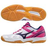 MIZUNO Cyclone Speed 女鞋排球網布透氣舒適白桃藍~ 世界~V1GC17