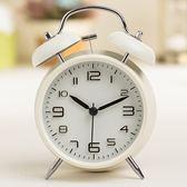 大聲創意鬧鈴靜音帶燈打鈴鬧鐘學生床頭鐘起床鈴金屬4寸鬧鐘 至簡元素