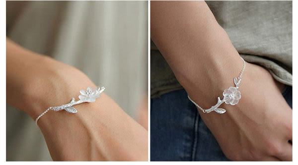 Star 銀色系列- 純銀飾品原創設計雨中花手鏈-C9