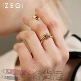 店長推薦日韓打結開口戒指女鍍彩金色可調節