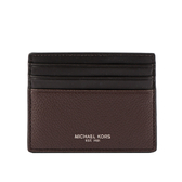 【MICHAEL KORS】拚色皮革6卡Cooper名片卡夾(黑/棕色) 36F9LCOD2T BROWN