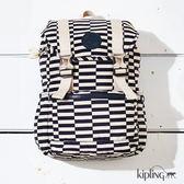Kipling 黑白撞色格子後背包-中
