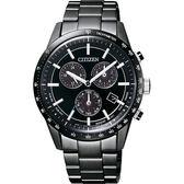 送小牛皮錶帶 CITIZEN 光動能40週年限量計時錶-黑/40mm BL5495-56L