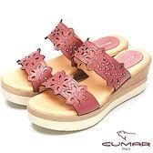 ★2018春夏新品★【CUMAR】舒適底台-簍空設計真皮厚台涼鞋(紫色)