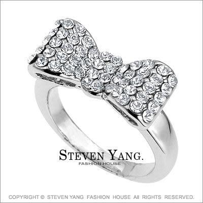 戒指STEVEN YANG正白K飾「公主系列」大蝴蝶結 晶鑽鋯石 兩色任選
