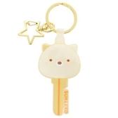 〔小禮堂〕角落生物 貓咪 大臉鑰匙造型矽膠鑰匙圈《米黃》掛飾.吊飾.鎖圈 4930972-49557