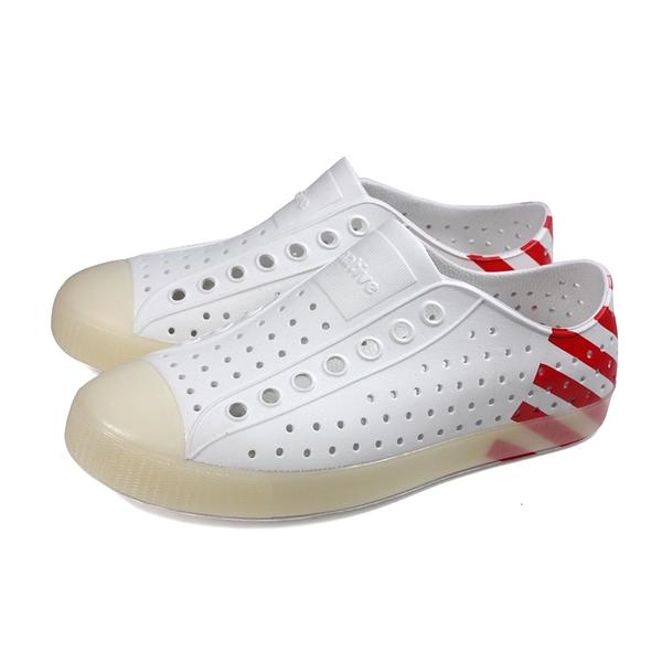 native 休閒鞋 洞洞鞋 白/紅條紋 男女鞋 11100102-8984 no031
