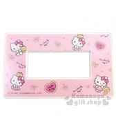 〔小禮堂〕Hello Kitty 標準橫式三孔插座開關裝飾板《粉.小熊》開關蓋板.電源蓋板 8021043-00005