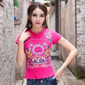 中國風刺繡上衣 原創設計民族風女裝復古重工刺繡花短袖上衣T恤