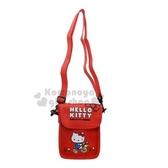 〔小禮堂〕Hello Kitty 潛水布直式斜背手機包《紅.騎腳踏車》斜背包.側背包 4930972-47267