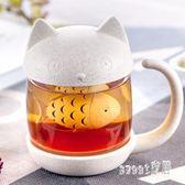 馬克杯 可愛玻璃杯子創意泡濾花茶杯情侶帶把水杯女友禮物 df2669【Sweet家居】