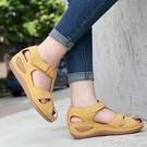 包頭運動涼鞋女中跟ins潮外穿新款魔術貼時尚復古風坡跟鏤空涼鞋 依凡卡時尚