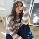 ❖ Hot item ❖ 毛絨絨橫條紋圓領針織衫 - earth music&ecology