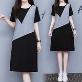 洋裝連身裙中大尺碼M-4XL假兩件連身裙大碼寬鬆顯瘦中裙棉麻拼接法式裙4F101-9851.胖妹大碼