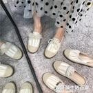 隼舞空~仙仙女鞋!百搭溫柔奶白杏色甜美蕾絲珍珠草編漁夫鞋拖鞋 設計師生活