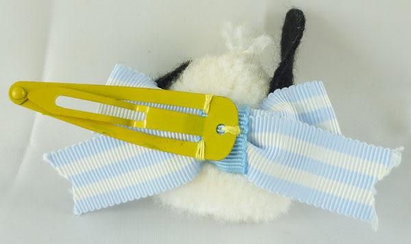 【震撼精品百貨】Pochacco 帕帢狗~絨毛髮夾劈啪夾『藍白蝴蝶結』