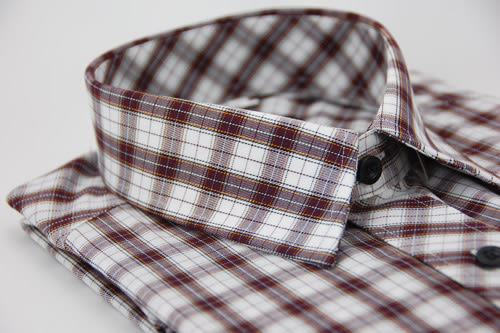 【金‧安德森】白紅格紋金線長袖襯衫