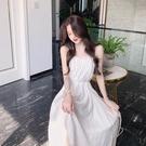 法式復古中長款吊帶裙夏季