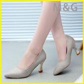 MG 金色高跟鞋閃粉金色高跟鞋尖頭中跟女鞋銀色細跟百搭單鞋伴娘婚鞋