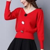 秋冬季新款收腰顯瘦針織打底衫寬鬆潮搭上衣套頭毛衣女減齡氣質裝  poly girl