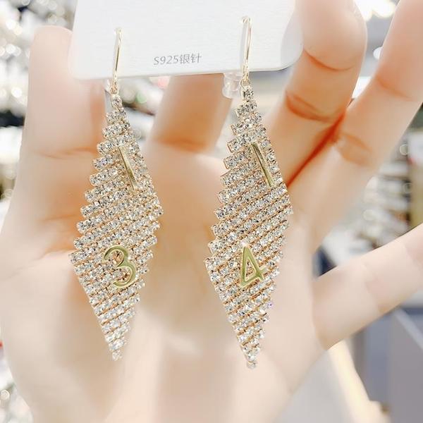 超閃菱形耳環=新款潮韓國大氣質網紅925純銀耳勾高級感耳墜