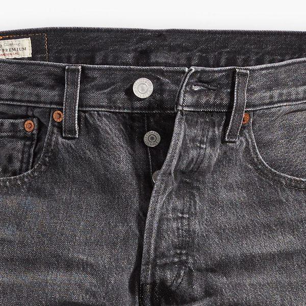 Levis 男款 上寬下窄 501 Taper 排釦牛仔褲 / 黑灰水洗 / 重磅 / 彈性布料