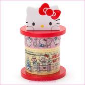 asdfkitty可愛家☆KITTY紙膠帶附造型收納座-膠帶用完可替換成自己喜歡的膠帶-日本正版商品