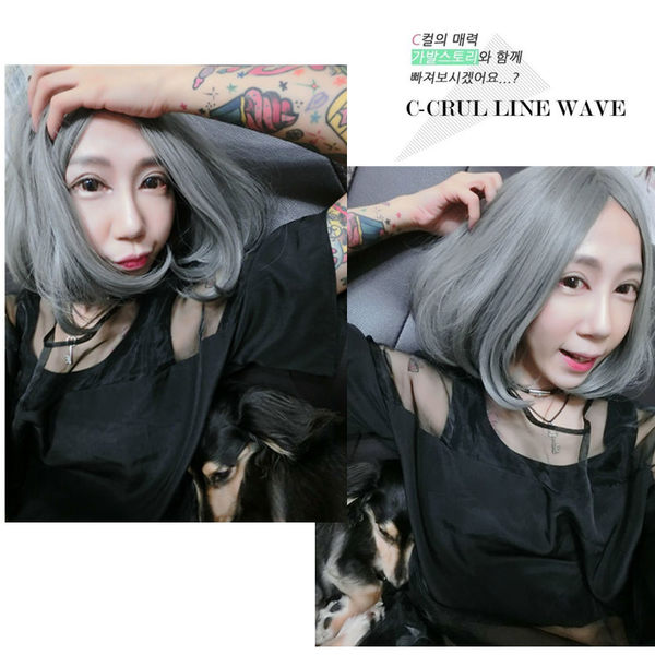 *╮Kinkee假髮╭*神秘感 日系酷酷風 夜空霧灰 中分 大頭皮 內彎  耐熱 短髮 假髮  【C038】