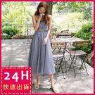 梨卡 - 甜美優雅格紋格子一字領無袖露肩連身裙連身長裙沙灘裙洋裝套裝C6258