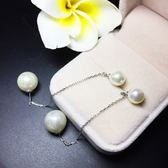 耳環 925純銀珍珠-長款雙珍珠生日情人節禮物女飾品73ia16【時尚巴黎】