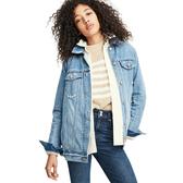 Gap女裝 Jolin明星同款大廓形做舊紐扣長袖牛仔夾克 491493-中度靛藍