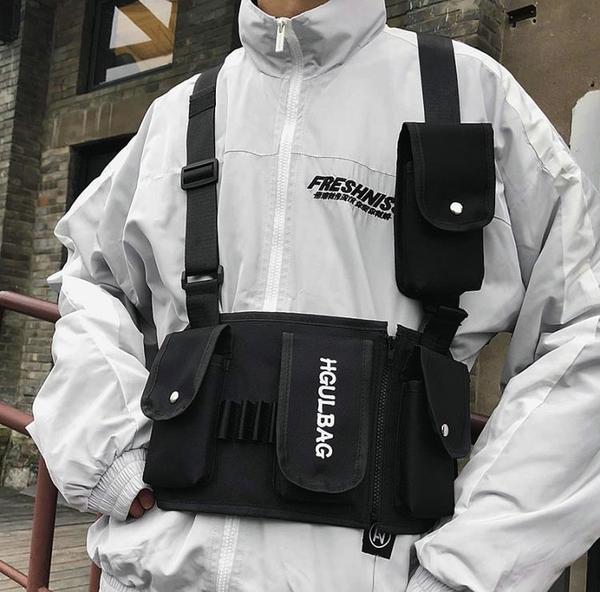 港風嘻哈胸包馬甲包潮街頭工裝男機能戰術多口袋子彈包原創背心包 - 歐美韓熱銷