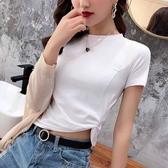 短T 白色短袖t恤女高腰圓領露肚臍上衣2020新款夏性感褶皺半截袖體恤