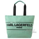 茱麗葉精品【全新現貨】KARL LAGERFELD 卡爾 品牌LOGO折疊大購物包.蒂芙尼綠