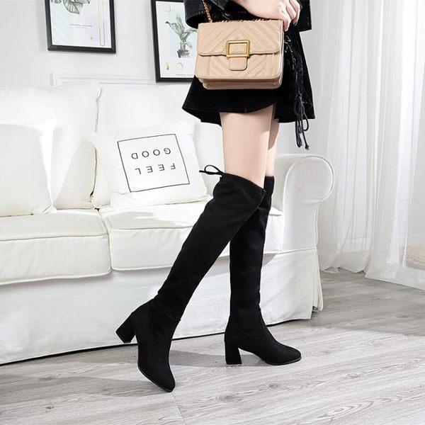 膝上靴 2018秋冬膝上靴女顯瘦彈力靴中跟高筒靴粗跟騎士靴SW5050女靴子 尾牙
