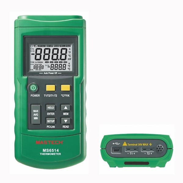 MASTECH 邁世 MS6514 數字溫度計 -200~1372℃, Dual Channel, USB 現貨