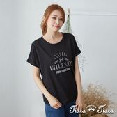 【Tiara Tiara】簡筆畫英字薄透上衣T-shirt(白/藍/黑)