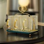 居曼希玻璃水杯架子瀝水架收納置物架帶托盤家用客廳杯架倒掛輕奢 青木鋪子「快速出貨」