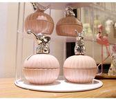 首飾盒北歐風陶瓷首飾盒電鍍動物粉色收納罐電鍍少女心桌面戒指收納盒