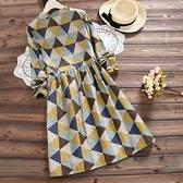 2021夏新款森女復古幾何印花寬鬆大碼立領中長款長袖棉麻洋裝 【端午節特惠】