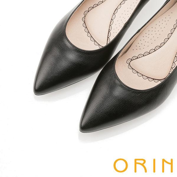 ORIN 優雅大女人 柔軟羊皮素面中跟鞋 -黑色