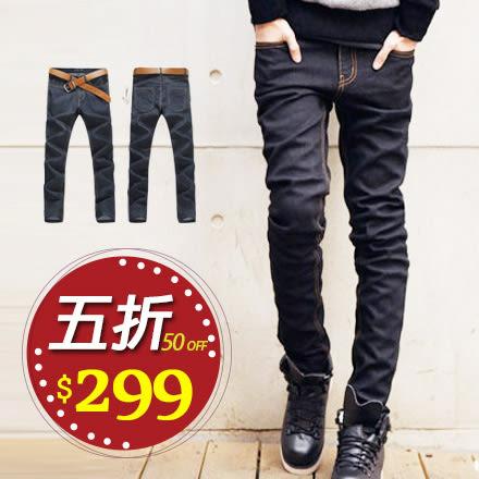 原色牛仔褲 Free Shop【AFS04】韓版超彈力厚磅單寧布料修身窄管黑原色牛仔長褲